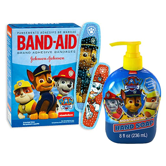 PAW Patrol Band-aid Brand Bandages & PAW Patrol Barking Berry Hand Soap!