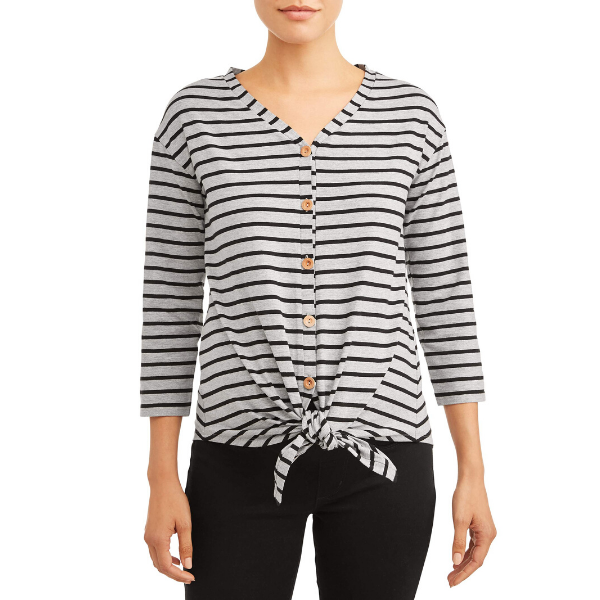 Oh! Mamma Long Sleeve Tie-Front Top