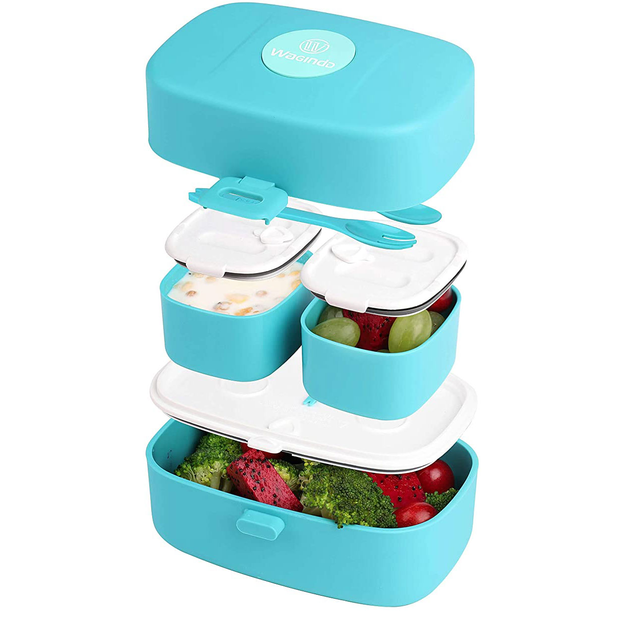 Wagindd Stacking Bento Box Lunch Box 3 Compartments