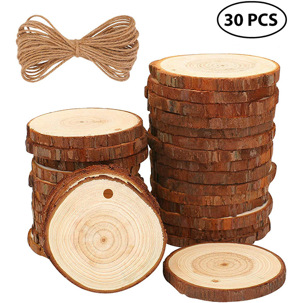 Natural Unfinished Wood Pre-Drilled Christmas Ornaments
