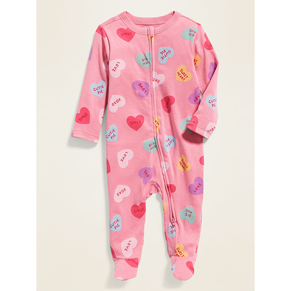 Old Navy Conversation Heart Printed One-Piece for Baby