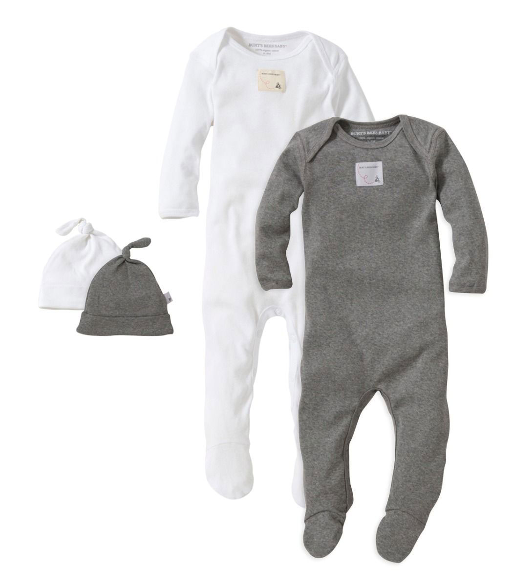 Organic Cotton 4-piece Footed Coverall and Hat Set