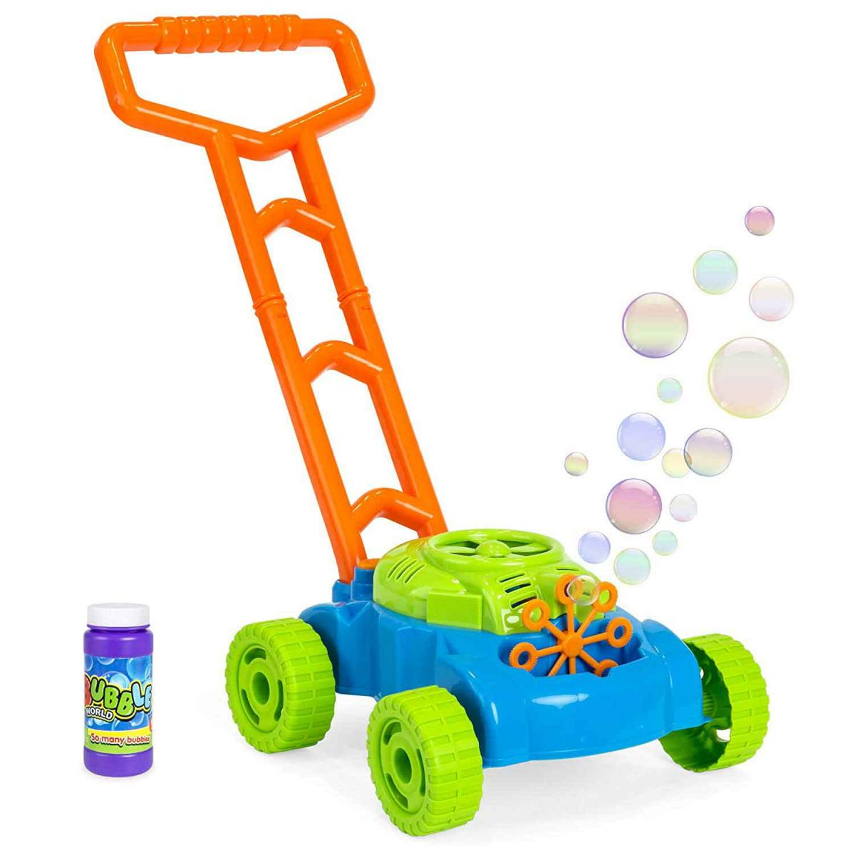 Best Choice Products Kids Pretend Play Pushing Electronic Bubble Mower