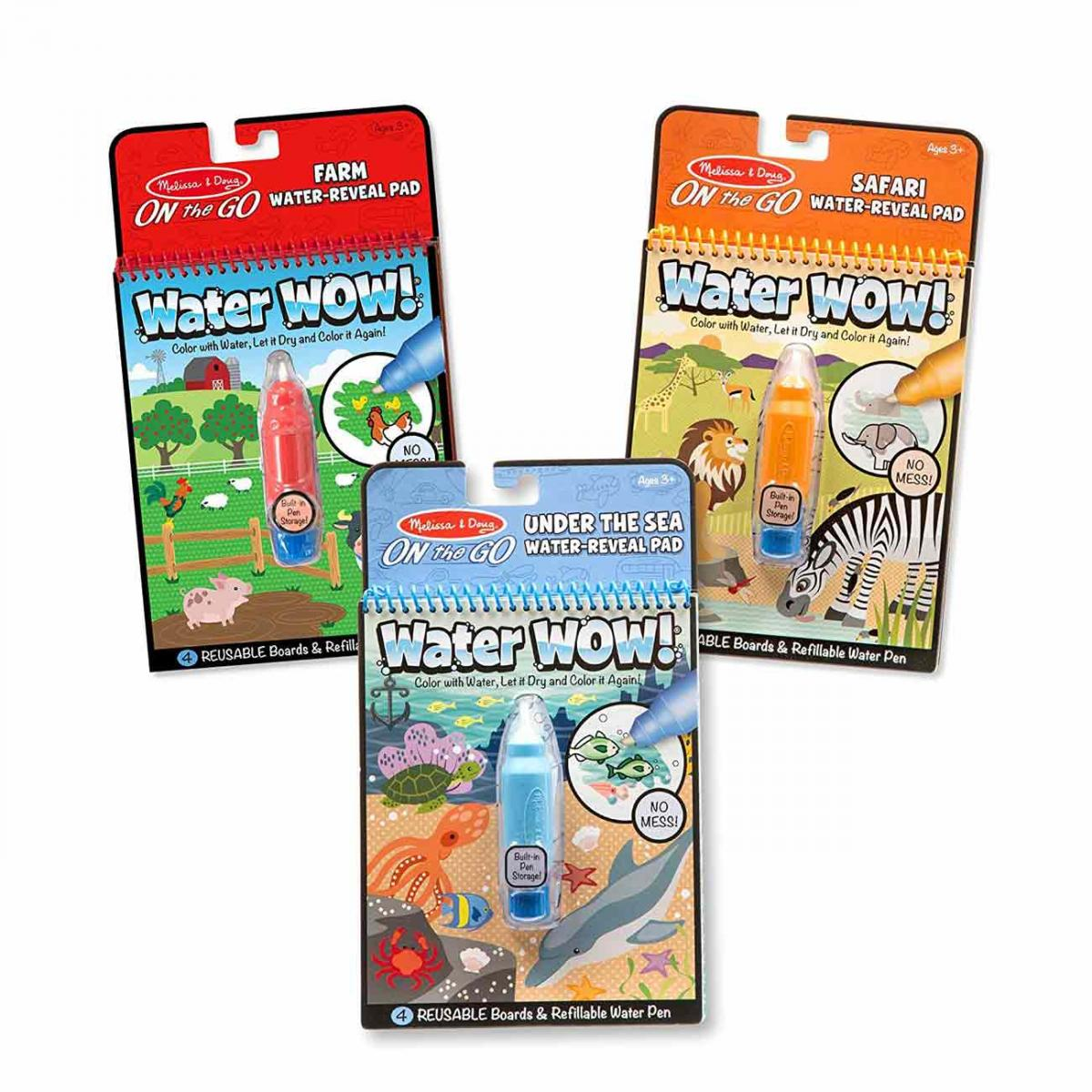 Melissa & Doug Water Wow! Reusable Color with Water Activity Pad 3-Pack