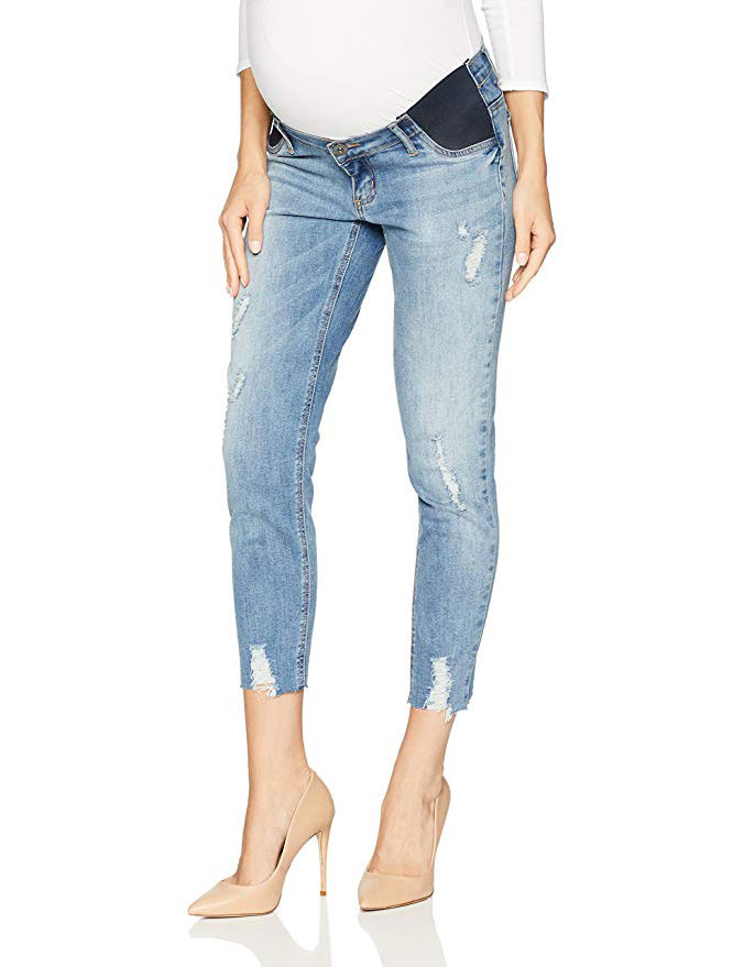 Indigo Blue Side Panel Under Belly Raw Hem Crop Denim Jean