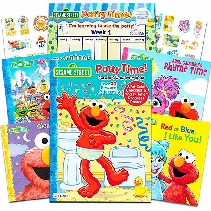 The Sesame Street Elmo Potty Training Book Super Set for Toddlers