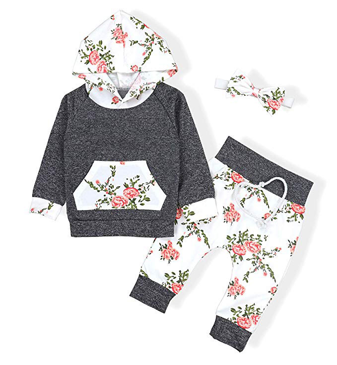 OKlady Long Sleeve Flowers Hoodie Tops and Pants Outfit
