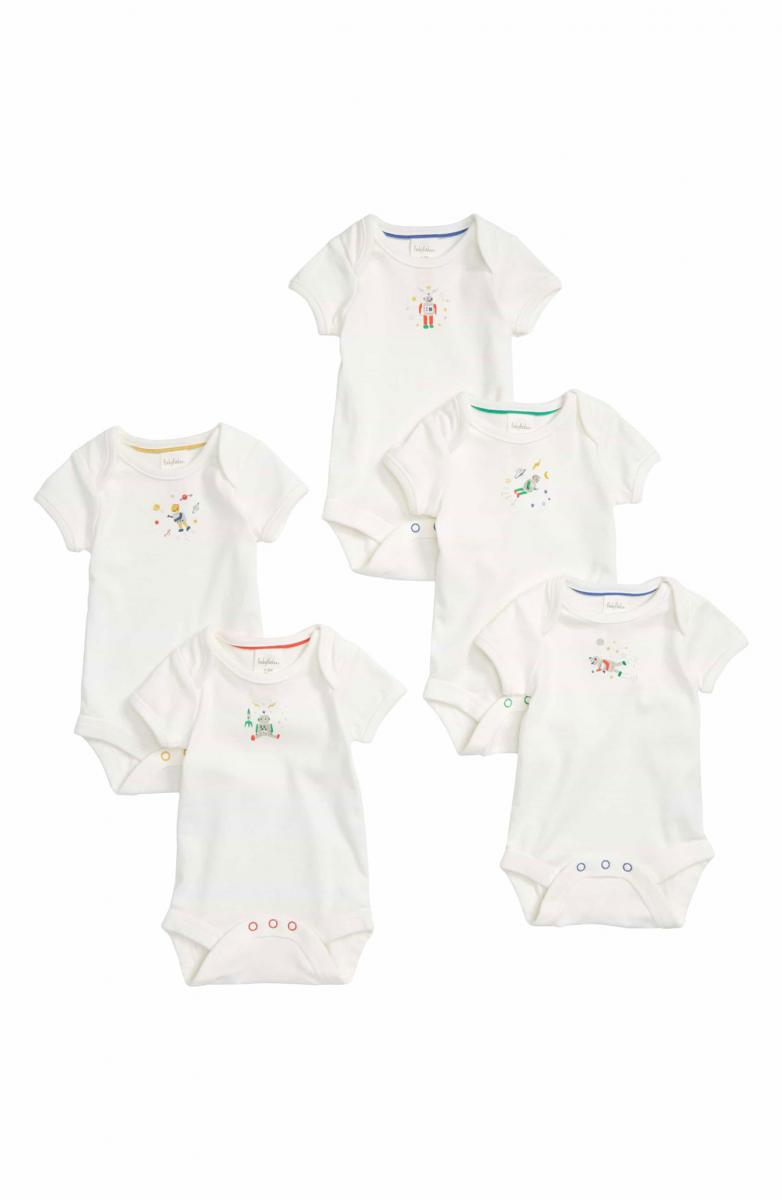 Mini Boden Robot 5-Pack Organic Cotton Bodysuits