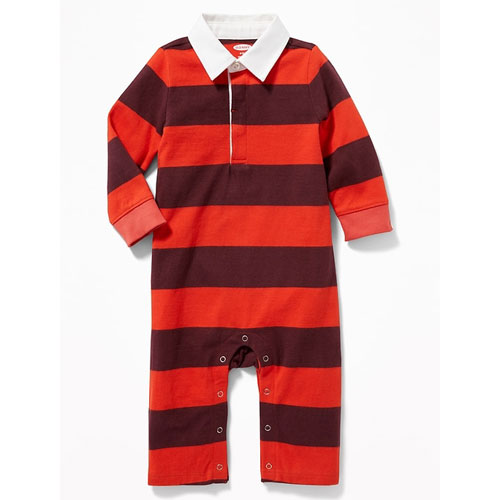 Striped Rugby One-Piece