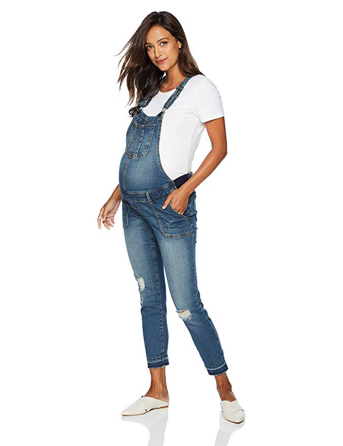Indigo Blue Side Panel Denim Overalls