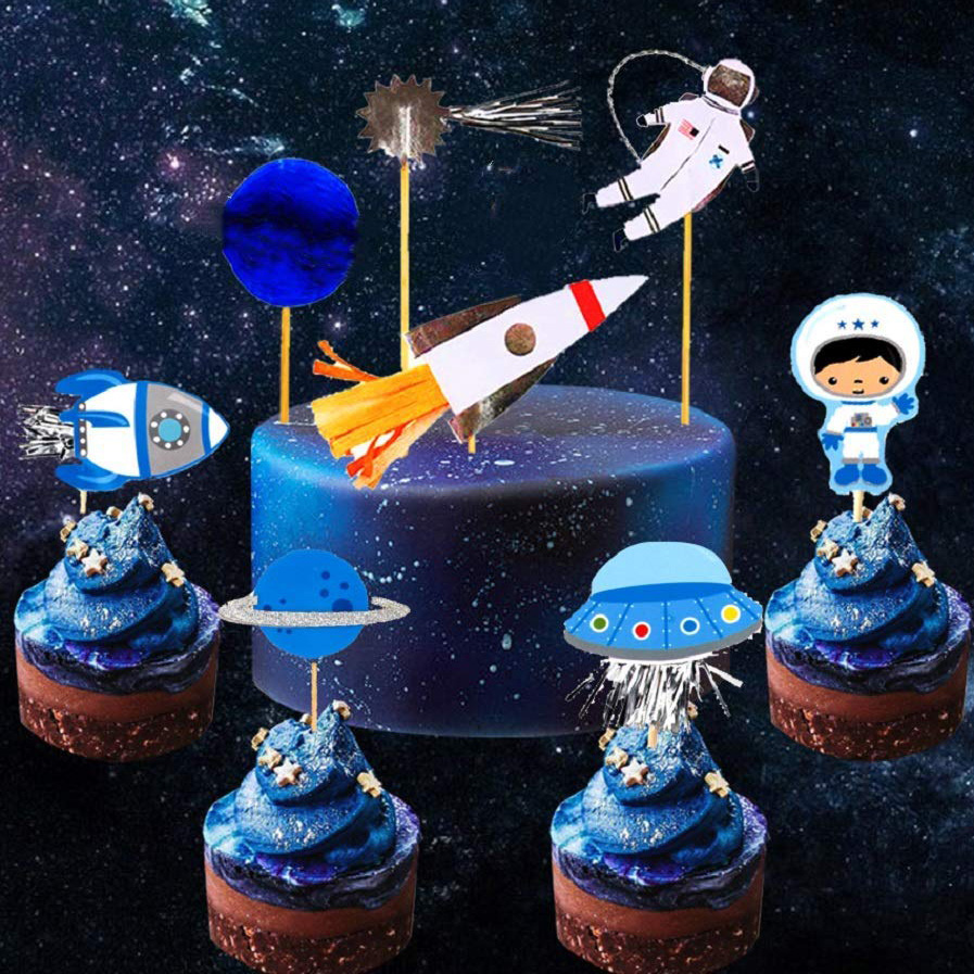 JeVenis Space Astronaut Cupcake Toppers