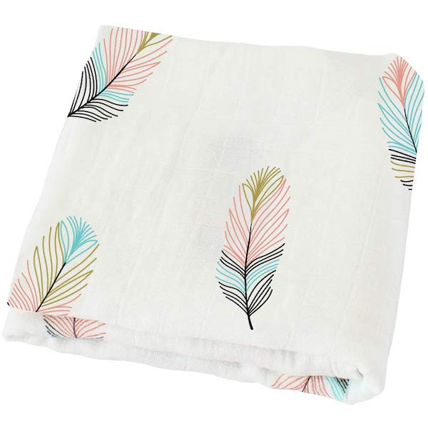 LifeTree Muslin Feather Print Bamboo Cotton Swaddle Wrap