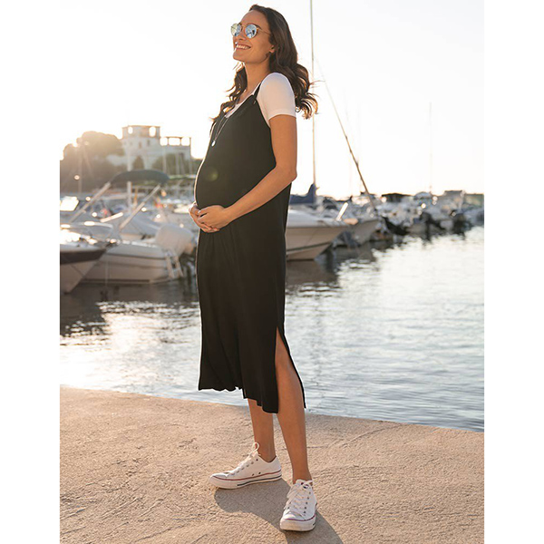 Seraphine Black Midi Maternity Dress