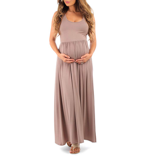 MotherBee Women's Ruched Sleeveless Maxi Maternity Dress