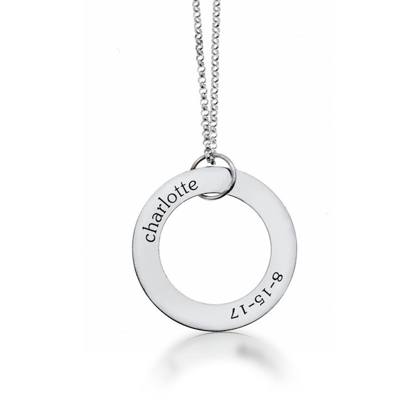 Tiny Tags Sterling Silver Circle Pendant
