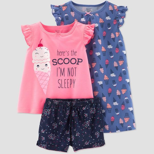 Just One You made by Carter's Toddler Girls' 3-piece Ice Cream Nightgown and Pajama Set