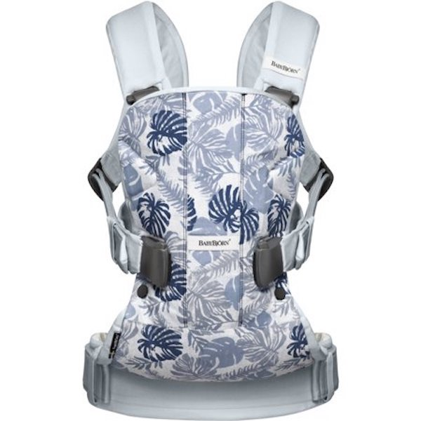 BabyBjörn Baby Carrier One in Leaf Print/Pale Blue