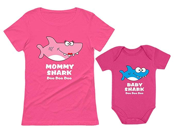 TStars Baby Shark and Mommy Shark Doo Doo Doo T-Shirt and Bodysuit Set for Mother and Baby