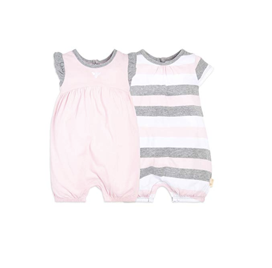 Burt's Bees Baby Baby Girls Rompers, Set of 2 Bubbles, One Piece Jumpsuits