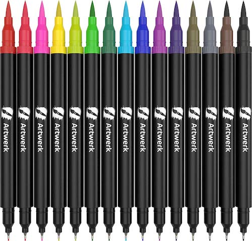 Nylea 15 Pack of Calligraphy Brush Marker Pens