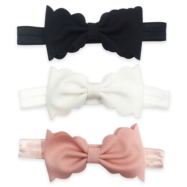 Tiny Treasures 3 Pack Infant Scallop Bow Headbands
