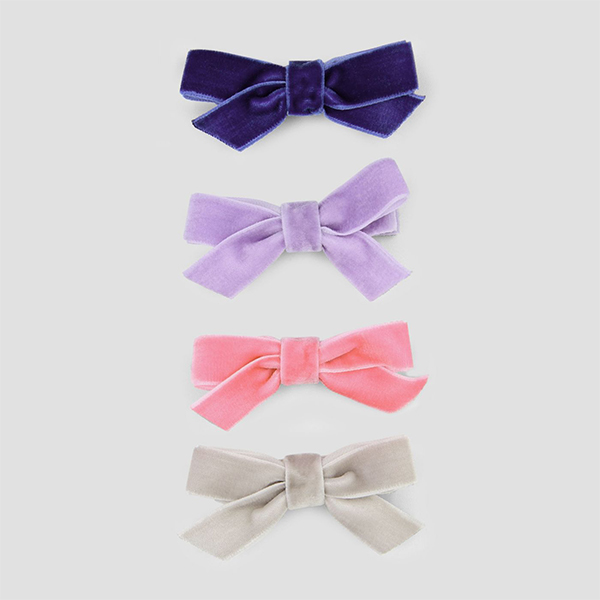 Toddler Girls Velveteen Bow Hair Clips