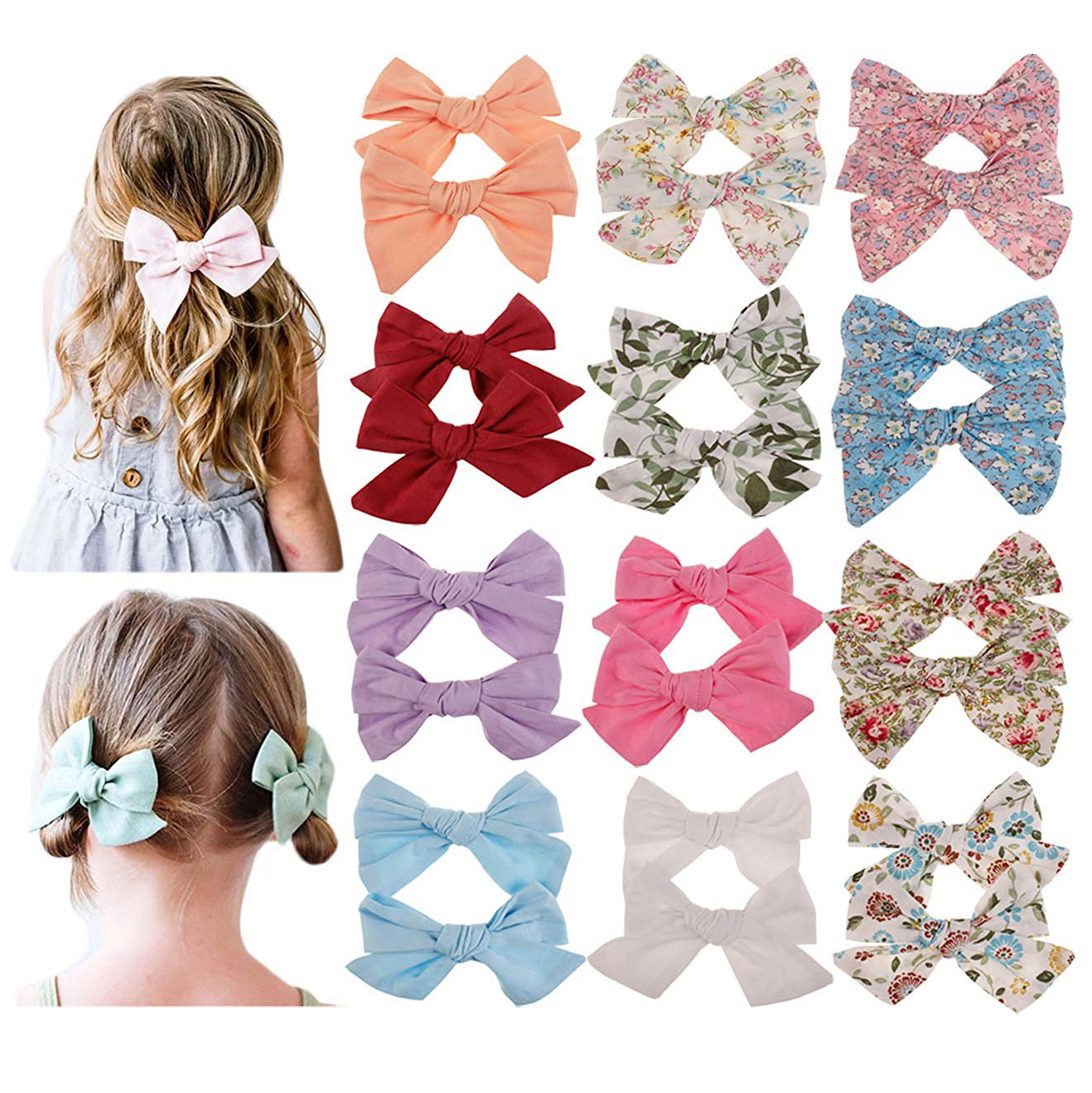Printed Bow Hair Clip Set