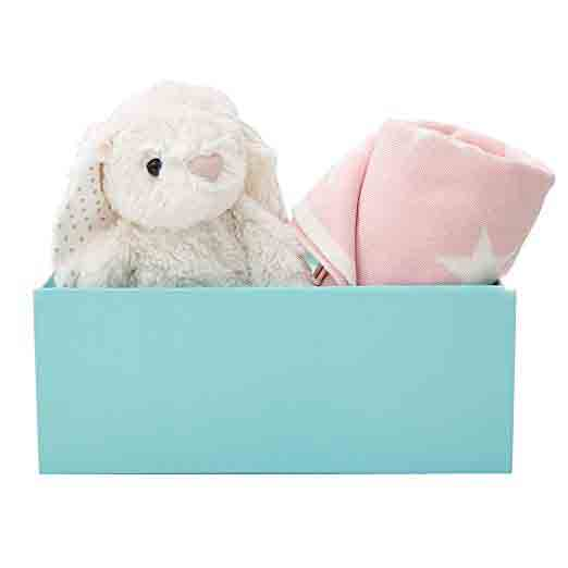 My 1st Years New Baby Pink Star Blanket & White Bunny Soft Toy Gift Set