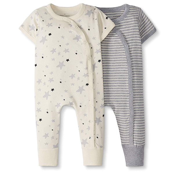Moon and Back by Hanna Andersson Baby 2-Piece One-Piece Organic Cotton Short-Sleeve Romper