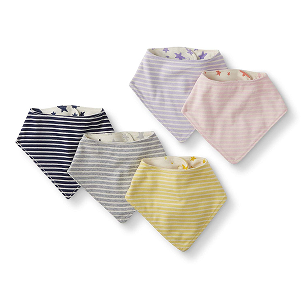 Moon and Back by Hanna Andersson Baby 5-Pack Organic Cotton Reversible Bib