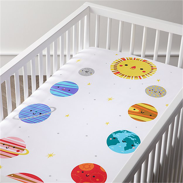 Organic Outer Space Planet Crib Fitted Sheet