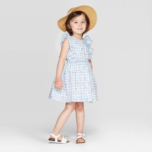 Mila & Emma Toddler Girls' Floral Print Ruffle Sleeve Smocking Dress