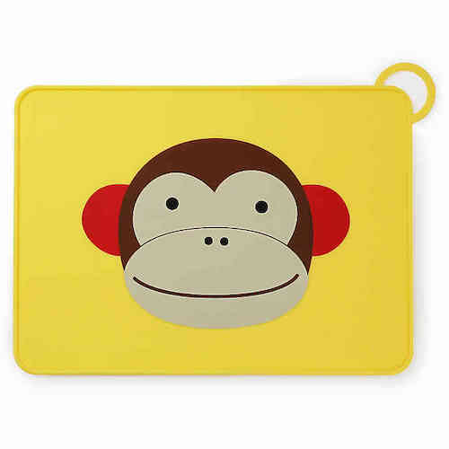 SKIP HOP Zoo Reusable Monkey Fold & Go Silicone Placemat