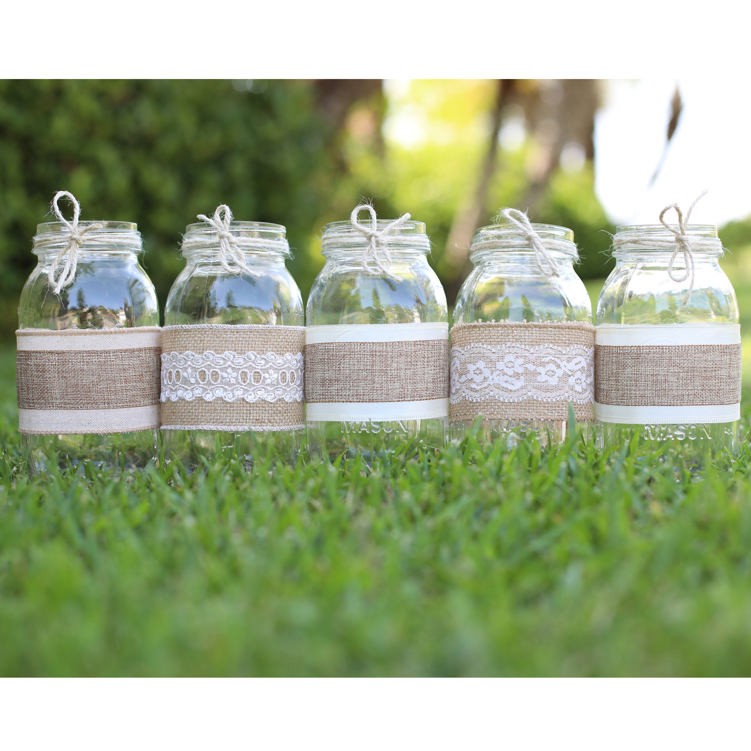 Our Similar Pick: Lace Burlap Mason Jars