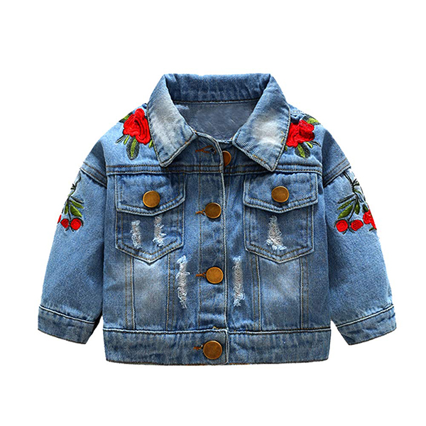 Top and Top Denim Jacket with Flower Embroidery