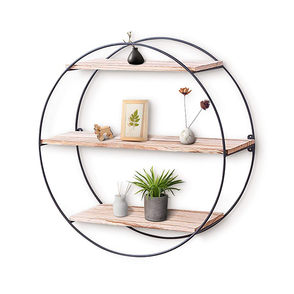 Rustic Round Floating Shelves
