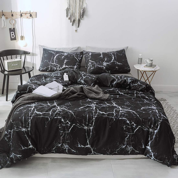 Black Marble Queen Duvet Bed Set