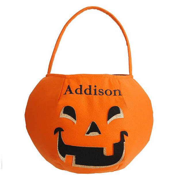 Pottery Barn Kids Pumpkin Glitter Puffy Halloween Treat Bag