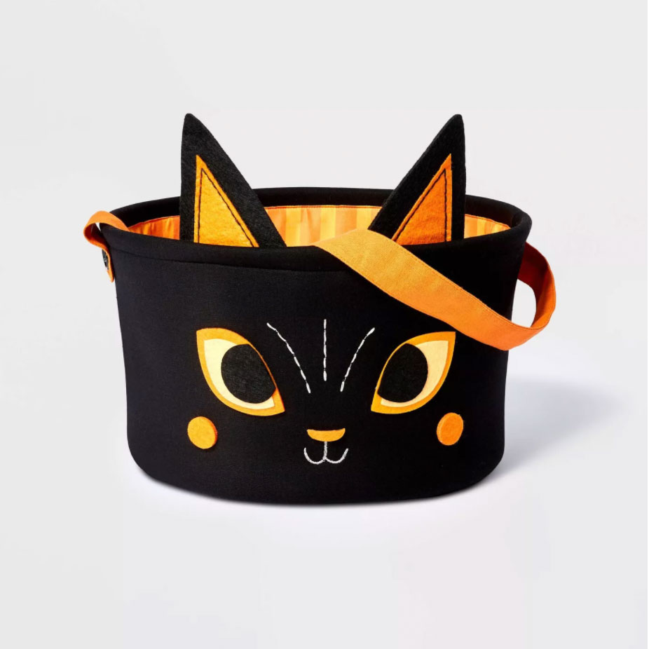 Hyde & EEK! Black Cat Halloween Candy Fabric Basket