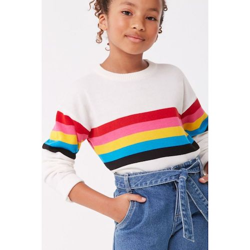 Forever 21 Girls Striped-Trim Sweater
