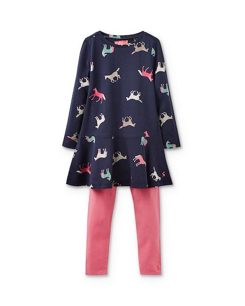 Joules Girls' Horse-Print Dress & Leggings Set