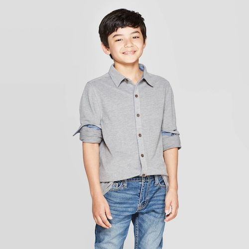 Target Cat & Jack Boys' Long Sleeve Pique Button-Down Shirt
