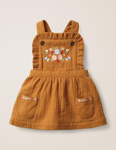 Mini Boden Floral Embroidered Pinafore