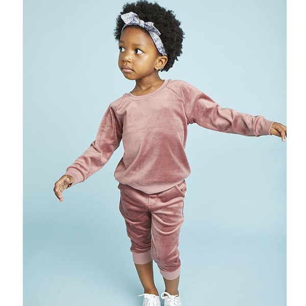 Giggle Dusty Rose Velour Sweatsuit for Girls