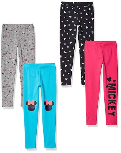 Spotted Zebra by Disney Girls' Toddler and Kids Mickey and Minnie Mouse 4-Pack Leggings