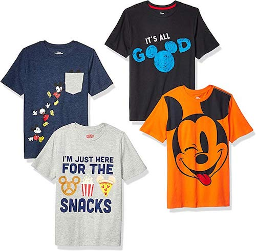 Spotted Zebra by Disney Boys' Toddler and Kids Mickey Mouse 4-Pack Short-Sleeve T-Shirts