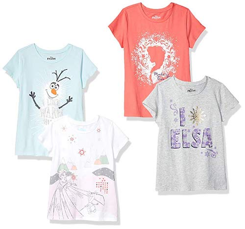 Spotted Zebra by Disney Frozen Girls' Toddler and Kids 4-Pack Short-Sleeve T-Shirts