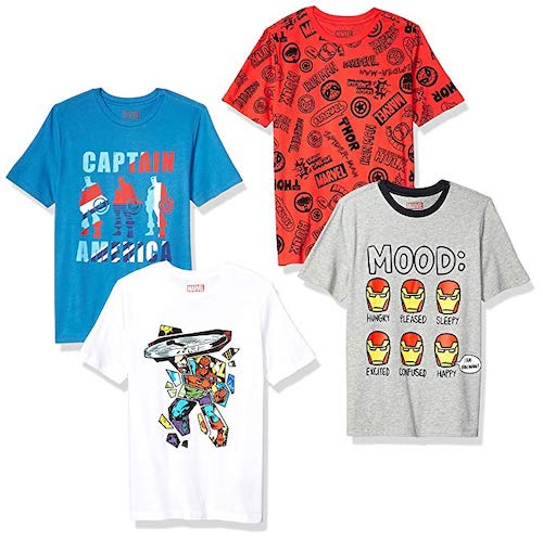 Spotted Zebra by Marvel Boys' Toddler and Kids 4-Pack Short-Sleeve T-Shirts