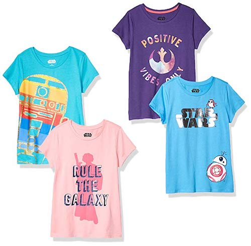 Spotted Zebra by Star Wars Girls' Toddler and Kids 4-Pack Short-Sleeve T-Shirts