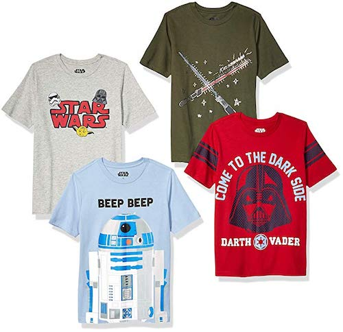 Spotted Zebra by Star Wars Boys' Toddler and Kids 4-Pack Short-Sleeve T-Shirts